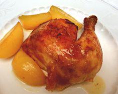 Pollo al horno con patatas al vino blanco