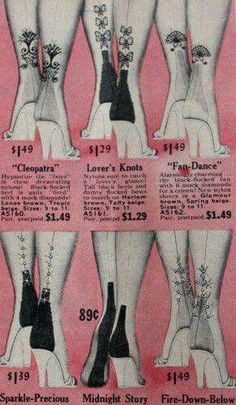 Pretty nylons   This is the style of nylons I wore in the 50's.  Some had rhinestones also.  Gram MB