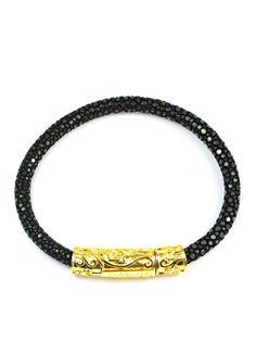Men's Black Stingray Bracelet with Silver Lock 18k Gold, Sterling Silver, Bracelets, Leather, Black, Jewelry, Jewlery, Black People, Jewerly