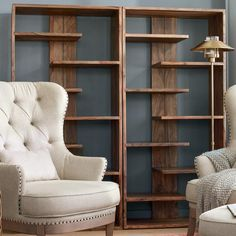 Fully Assembled & Ready to Use: Made of the same gorgeous, sustainable sheesham wood as our Nielson Desk, the Atlas Sheesham Bookcase offers the same beautifully banded grain pattern that everyone notices with natural warm and cool striations. Home Office Furniture, Home Office Decor, Diy Furniture, Home Decor, Office Table, Furniture Storage, Modern Bookcase, Home Remodeling, New Homes