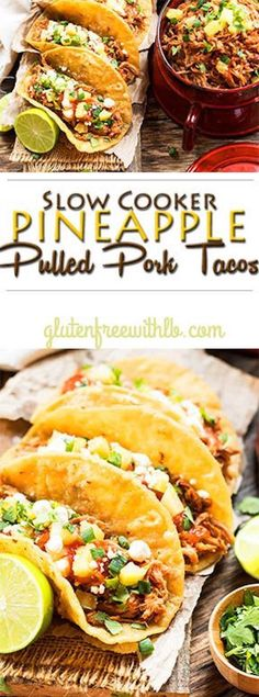 Slow Cooker Pineapple Pulled Pork Tacos - A dinner recipe for pulled pork that is made in the Crock Pot with a yummy Pineapple BBQ sauce. Slow cooker pineapple pulled pork recipe that can be served in tacos or on a bun for a burger.