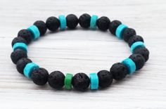 Boho Men Bracelets Turquoise Bead Bracelet Black Lava by ByOliveFR