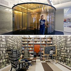 Feel your most effective when in a library? You don't actually need all those books, you just need wallpaper that looks like you do! 19 Crazy Offices That Think Outside The Cubicle | WebUrbanist