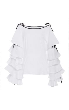 This **Caroline Constas** Amalie Ruffle Sleeve Top features a wide neckline with…