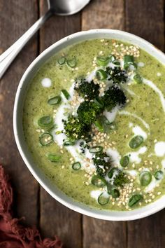 A vegan broccoli soup with roasted broccoli, ginger, lemon, and a hint of coconut. Easy to make and uses the entire broccoli head.
