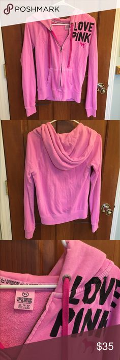 Victoria's Secret Pink Zip-Up Bright and fun Victoria's Secret Pink zip up sweatshirt. Super comfy! Color is slightly faded on the bottom near the seam (see last pic). PINK Victoria's Secret Tops Sweatshirts & Hoodies