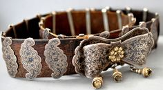 Armenian silver and gilt silver  on leather belt with nielo work, very nice old piece. (info@singkiang.com)