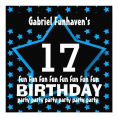 17th Birthday Party or Any Year Fun STAR V17B Announcement