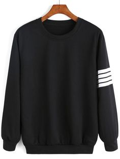 Shop Round Neck Varsity-Striped Sweatshirt online. SheIn offers Round Neck Varsity-Striped Sweatshirt & more to fit your fashionable needs.