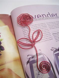 WIRE ART BOOKMARK - ROSE - Great as Gifts or Favors