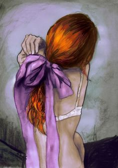 Redhead and lavender bow