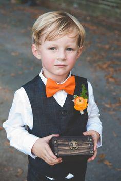 orange taffeta bow. Box ring bearer rustic Burlap