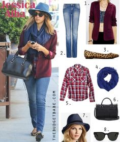 Dress by Number: Jessica Alba's Burgundy Blazer and Leopard Flats