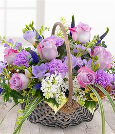 Fabulously Fragrant Basket A divinely delicate and fabulously fragrant flower basket. Lilac Roses and Carnations with white Lilacs, lavender Stocks a Basket Flower Arrangements, Beautiful Flower Arrangements, Floral Arrangements, Beautiful Flowers, Flower Basket, Flower Boxes, Basket Drawing, Lilac Roses, Ball Decorations