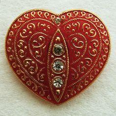 Beautiful Czech glass heart button.