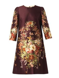 Floral and key-print duchess-satin dress | Dolce & Gabbana | M...