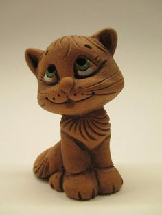 Ceramic Figurine Excellent Cat with A Smile Latvia Handmade Fine Work SR136 | eBay