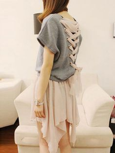 Autumn Sexy Two Pieces Back Lace-Up Woolen T-Shirts & Chiffon Strapless Dresses