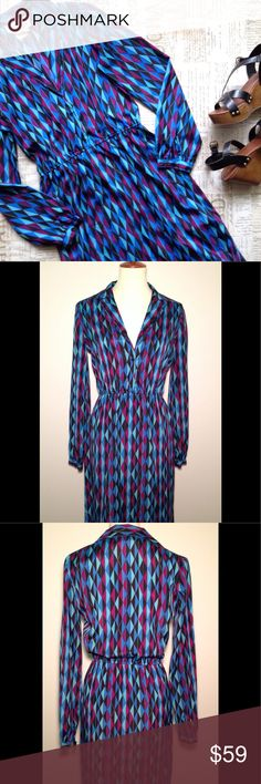 """Diane Von Furstenberg vintage 70s/80s dress Diane Von Furstenberg vintage 70s/80s dress. Size M. Elastic waist. Believed to be from late 70s early 80s. A few loose threads and spot on back, but in good preowned condition. Measurements: body length (down center of back): 45"""" underarm seam to underarm seam: 18"""" shoulder seam to shoulder seam: 15"""" sleeve from shoulder seam: 24"""" Diane Von Furstenberg Dresses Midi"""