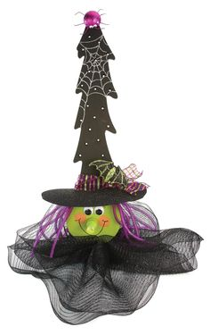 Nicole™ Crafts Lighted Wood Tree Witch #halloween #craft Saw this at AC Moore...too cute.  Made with wooden Xmas tree.