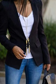 Business casual: a nice fitted jacket over a blouse along with jeans looks great in headshots.