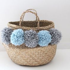 Large Thai basket with PomPoms sky blue and silver color Diy And Crafts, Arts And Crafts, Birthday Basket, Belly Basket, Pom Pom Crafts, Craft Bags, Basket Bag, Blue And Silver, Silver Color