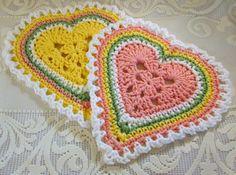 Heart dishcloths - Crochet and other stuff