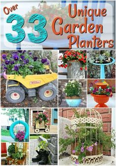 33 Ways to Reuse Items for Unique Garden Planter Ideas - The Thrifty Couple. I love these ideas on ways to use old items and stuff to make a new garden planter for flowers or vegetables, or herbs or fruit. You can turn nearly anything into a garden planter. #gardening #gardens #garden #gardenideas #gardentips #gardenhacks #planters #unique #containergardening #gardenplanters #outdoorspaces #outdoors #yards #tips #hacks #tricks #vegetablegarden #flowergarden