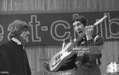 Photo of The Who; Roger Daltrey & Pete Townshend appearing on 'Beat Club' TV show