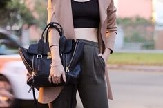 Oasap trench coat, Windsor cropped top and nude sandals, 3.1 Phillip Lim medium satchel Pashli