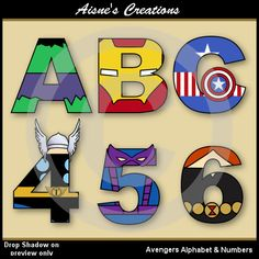 The Avengers Alphabet Letters and Numbers Clip by AisnesCreations