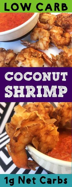 This is a recipe for coconut shrimp with a sweet and sour sauce. It's low carb Keto Atkins LCHF THM grain free gluten free and sugar free. It's a tasty appetizer with only net carbs per serving. Coconut Shrimp Recipes, Seafood Recipes, Recipes Dinner, Low Carb Recipes, Paleo Recipes, Cooking Recipes, Easy Recipes, Clean Recipes, Sweet And Spicy Sauce