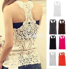 Stylish Girl Women Sexy Back Hollow Out Lace Crochet Cami Shirt Blouse Tank Tops | eBay