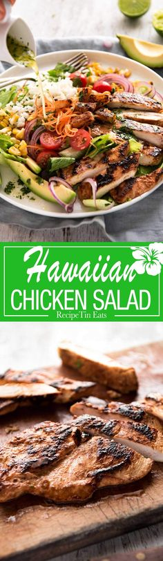 A salad with chicken marinated in pineapple juice, coconut milk & spices and a beautiful cilantro (coriander) lime dressing. The flavours of Hawaii - in a salad! recipes with chicken Hawaiian Chicken Salad, Hawaiian Salad, Carne, Chicken Salad Recipes, Salad Chicken, Chicken Skewers, Chicken Curry, Paleo, Cooking Recipes