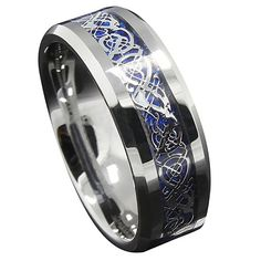 Get Best Price Queenwish Blue Silvering Celtic Dragon Tungsten Carbide Ring Mens Jewelry Wedding Band Silver Rings Jewelry Eternity Ring Mens Wedding Rings Tungsten, Tungsten Jewelry, Tungsten Rings, Celtic Wedding Bands, Womens Wedding Bands, Dragon Ring, Celtic Dragon, Celtic Art, Promise Rings For Her