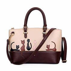 ZENTEII Women PU Leather Cute Cat Handbag Tote Top Handle Satchel Shoulder Bag (Cat) ** Check out @