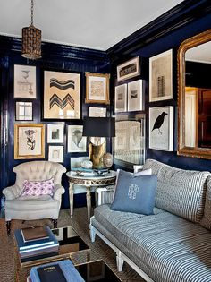 navy walls+gold mirror+jute rug elle decor ellen rakieten house by nate berkus My Living Room, Home And Living, Living Spaces, Cozy Living, Small Living, Living Area, Home Design, Interior Design, Modern Interior