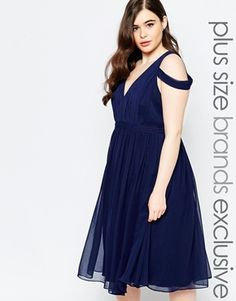 Forever Unique Plus Off Shoulder Plunge Midi Dress