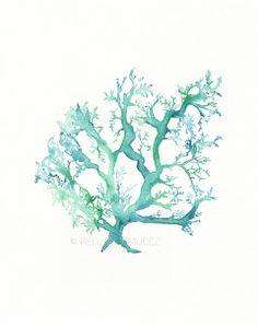 No.1 Sea Coral / watercolor print / teal / light green / aqua / sea / ocean life /. $20.00, via Etsy.
