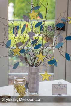 """""""Wishes for Baby"""" tree...not a big fan of the sun and moon, but I like the branches idea for a fall shower. Baby Shower Fall, Baby Shower Games, Baby Shower Parties, Baby Boy Shower, Wishing Trees, Superhero Baby Shower, Baby Shower Announcement, Baptism Decorations, Star Baby Showers"""
