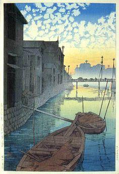 Dawn at Daikon Gashi Riverbank - woodblock print by Kawase HASUI, Japan 川瀬巴水