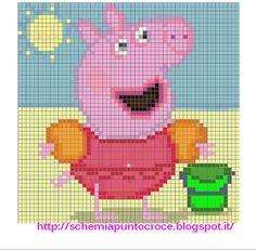 Ricamo e schemi a puntocroce gratuiti: Punto croce disney baby - Peppa Pig