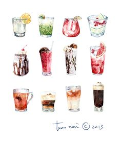 by Tuan Nini Drink Illustration Watercolor Food, Watercolor Illustration, Watercolor Paintings, Watercolour, Desserts Drawing, Food Sketch, Art Vintage, Food Painting, Food Drawing