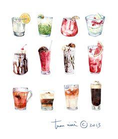 by Tuan Nini Drink Illustration Watercolor Food, Watercolor Illustration, Watercolor Paintings, Food Sketch, Art Vintage, Food Painting, Food Drawing, Food Illustrations, Cute Food