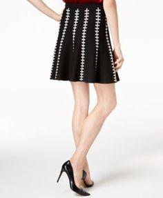 Olivia & Grace Jacquard Flared Skirt, Created for Macy's - Black XS