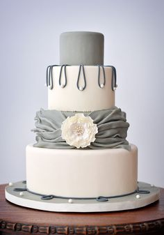 Gray Wedding Cake with Pearls