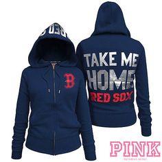 Boston Red Sox Victorias Secret PINK Full Zipper Hoodie Pink New York 5051cad58