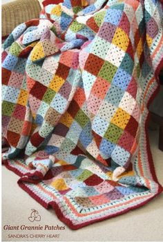 Giant Granny Patches Crochet Blanket by @Sandra Pendle Pendle (Cherry Heart)