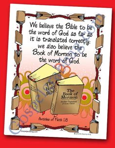 Scriptures - Book of Mormon - Bible: Scripture Poster, Articles of Faith 1:8, LDS Lesson Activity for: Primary, Youth, and Family Home Evening