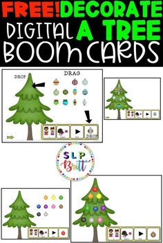 FREE! HOLIDAY CHRISTMAS DECORATE A TREE, DIGITAL BOOM CARDS. Great for vocabulary, answering questions, sentence structure, requesting, AAC, expressive & receptive language. Great for distance learning and holiday & Christmas themed lessons! #speechtherapy #speechtherapyactivities #languagetherapy #teacherspayteachers #slpbritt #slpsontpt Speech Therapy Activities, Free Activities, Language Activities, Christmas Activities, Christmas Themes, Christmas Holidays, Holiday Decor, Christmas Present Book, Christmas Presents For Babies